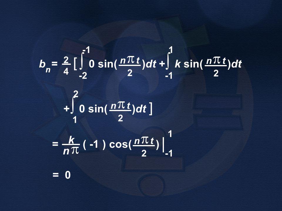 ∫ ∫ b = [ 0 sin( )dt + k sin( )dt + 0 sin( )dt ] k = ( -1 ) cos( ) n